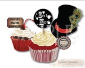 Alice's Eat Me Cupcake Toppers Printable JPG Sheet ~ 12 Victorian Party Decorations ~ Black Chalkboard Style Hearts, Diamonds, Pocket Watch