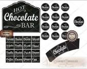 Hot Chocolate Bar Printable Set of 5 Files ~ PDF JPG ~ Chalkboard Art Style Christmas Buffet Sign, Cup Sleeve, Ingredients Cards, Jar Labels