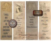 Junk Journal Bookmark Printable ~ Spooky Party Favors ~ 4 Quotes Goth Cemetery Tomb Creepy Photos Skull Gravestones Stoker, Poe, Shakespeare