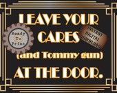 Tommy Gun Door Sign Roaring 20s Prohibition Era Art Deco Gatsby Inspired Gold Black White Wedding Centerpiece Party Bar Front Door Sign