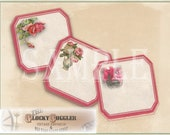 Vintage Red Border Rose Tags Printable Sheet of 12 ~ Victorian Scrap Bouquets ~ 1 Digital Download JPG ~ Earring Cards, Price Tags Americana