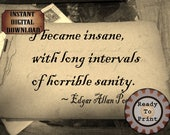 Edgar Allan Poe Sanity Quote Printable ~ 1890 Victorian Goth Autograph Book Digital Sheet ~ Aged Paper Scrapbook Stationery Halloween Decor