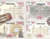 Vintage Post Cards Printable Set ~ JPG ~ 4 Steampunk Victorian Rose Horse Carriage, Mansion, Gears, Old Buildings Junk Journal Embellishment