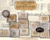 12 Prohibition Bootlegger Crate Label Props JPG Set ~ 8.5X11 Speakeasy Roaring 20s Mystery Escape Party Gin, Georgia Moonshine, Ale, Whiskey
