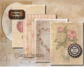 """5 Aged Rose Scrapbook Sheets Printable Digital 8.5x11"""" Water & Coffee Stained Junk Journal Victorian Ephemera ~ All Pages on Individual JPGs"""
