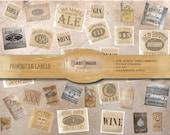 32 Mini Crate & Bottle Labels Printable Scrapbook Ephemera ~ Digital JPGs ~ Junk Journal Clip Art 3 Full Sheets ~ Vintage Style Booze Images