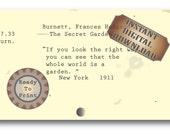 Garden Quote Note Card ~ Junk Journal Embellishment ~ The Secret Garden Library Card Catalog Card Digital JPG ~ The Whole World is a Garden
