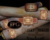 Custom CIGAR LABEL Printable JPG Digital File ~ Classic Steampunk Elegant Copper Gold Filigree Victorian Edwardian Personalized Wraparound