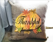 """Pumpkin """"Thankful"""" Sublimation & Cutting ~ 6X6 Files ~ svg, pdf, png, eps, dxf Craft Transfer Image Fall Thanksgiving Autumn Printable Decor"""