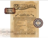 """SARSAPARILLA Crate Label Printable 8.5x11"""" JPG ~ 1 Aged Sheet Old West Cure-all Shipping Box Party Decor ~ Dr BG Swindler's Purifying Blood"""