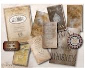 8 Bottle Labels Printable JPG ~ Various Sized International Prohibition Speakeasy Roaring 20s Wine, Spirits, Whisky, Gin, Brandy, Scotch