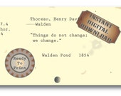 """Thoreau Library Card Catalog Printable ~ """"Change"""" WALDEN Book Quote ~ JPG File ~ Aged Library Ephemera Literary Quote ~ Bookworm Gift Card"""