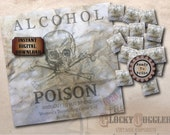"""Crate & Bottle Labels Printable Set ~ 1920 Prohibition Women Teetotaler Alcohol POISON Warning 8X8"""", 20 2X2"""" Tags Aged Wrinkled Paper JPGs"""