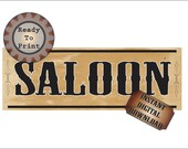 Wild West Saloon Banner Printable PDF 24 by 72 Inch Bachelor Party Sign Steampunk Country Western Wedding Bar Decor Aged Victorian Paper