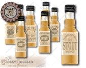 32 Mini Booze Bottle Labels Printable Bootleg Prohibition Speakeasy or Wild West Barn Wedding Decor ~ Rye, Whiskey, Bourbon, Gin, Ale, Brew