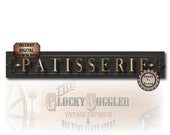 PATISSERIE Banner Printable PDF ~ 12 X 72 Inch French Bake Shop Bakery Sign~ Charcoal and Gold Montmarte Paris Art Nouveau Style Digital Art