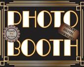 Photo Booth Sign Printable Roaring 20s Prohibition Era Art Deco Gatsby Party Gold Black White Wedding Speakeasy Event Illuminate Sign
