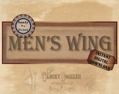 MEN'S WING Asylum Printable Sign Party Prop ~ JPG Digital File ~ Fun Mental Hospital Halloween Front Door Decor ~ Created Ephemera Download