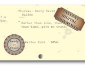 Truth Author Quote Printable Junk Journal Embellishment ~ Library Card Catalog Vintage Ephemera Aged Scrapbook ~ Henry David Thoreau Quote