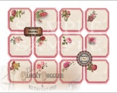 Red Border Rose Tags Printable Sheet of 12 ~ Vintage Victorian Scrap Bouquets ~ 1 JPG ~ Scrapbook, Junk Journal, Earring Cards, Price Tags