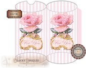 """Pink Rose Pillow Box Printable Files ~""""For You"""" Gold Framed Victorian Scrap Shabby Pink Stripe Searsucker Boho Wedding Party Favor Packaging"""