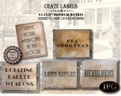 5 Weapons Crate Labels Printable ~ Prohibition Speakeasy Western Saloon Party Decor ~ Pea Shooter, Rotating Barrel, Long Rifle, Revolver