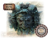 """Green Man Fountain Printable JPG ~ Aged Bronze Statue ~ 8.5X11"""" Verdigris Bacchus, Pan, Dionysus, God of Wine, Horned Nymph, God of the Wild"""