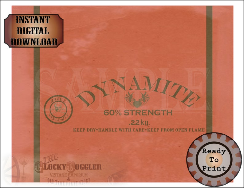 Dynamite Gift Wrap Printable ~ Wild West Party Decor JPG ~ Aged Red Old Timey Cowboy Miner Town Style Sheet ~ 60/% Strength ~ Keep Dry
