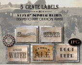 Non-alcohol Crate Label Props Printable ~ 1920s Prohibition Western Party Decor ~ Root Beer, Cider, Sarsaparilla, Ginger Ale, Spring Water