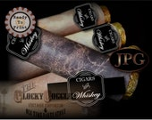 CIGARS AND WHISKEY Cigar Wrap Labels Printable jpg File Digital Download ~ Chalkboard Style Black White Wraparound Bachelor Party Decoration