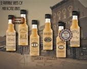 24 Mini Saloon Bottle Labels Printable ~ Wild West Booze Shot Bottle Tags for a Barn/Country Wedding/Party~ Rye Whiskey Bourbon Gin Ale Brew