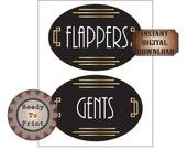 Flappers Gents Restroom Door Signs Printable Art Deco Roaring 20s Gatsby Era Prohibition Speakeasy Ladie's Men's Room Party Wedding Decor