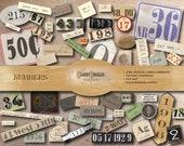 56 NUMBERS Junk Journal Printable JPG ~ Address, House #, Dates, Card Catalog, Post Mark & Boxes, Mug Shot, Price Tag, Bingo, Typewriter Key