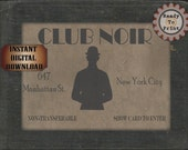 Speakeasy Card Printable 1920s Club Noir Sign Prohibition Roaring 20s Style Art Deco Gatsby Party Wedding Centerpiece Bar Front Door Sign