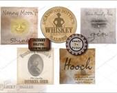 "5 Prohibition Women Bootlegger Crate Labels Printable 8X8"" Aged Grunge Paper Speakeasy ~ Hooch, Shine, Bier, Whiskey, Bathtub Gin JPG Files"