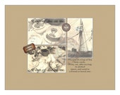 Tea Bag Note Card Printable ~ 3 Victorian Steampunk Cards ~ Rose Heart Strainer, Tall Ship, Tea Service ~ Alice's Mad Hatter Tea Decoration