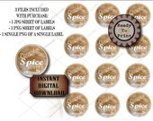 12 Pumpkin Spice Coffee Mason Jar Gift Lid Labels Printable JPG, PNG Sheet, Single PNG Image Halloween Fall Party Wedding Guest Favor Tag