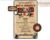 Personalized ESCAPE ROOM Party Invitation Digital Download File ~ Custom Invite ~ Magnifying Glass, Fingerprint, Date, Time, rsvp, Clocks