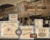 Mine ESCAPE ROOM Explosives Crate Labels ~ Printable pdf Files Gold Mining Party Props ~ Danger, TNT, Volatile Black Powder Canisters