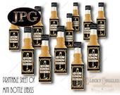 "ABOLISH PROHIBITION Mini Liquor Bottle Labels Printable ~ 12 2x3"" Champagne Bottle Flute Prohibition Speakeasy Gatsby Roaring 20s Favors JPG"