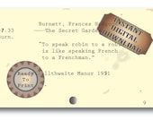 Robin Quote Card Catalog Library Card Digital File ~ The Secret Garden Junk Journal Embellishment ~ Speak Robin to Robin French to Frenchman