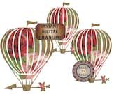 Rose Airship Dirigible Printable Junk Journal Embellishments ~ Steampunk Victorian Red Pink Rose Scrap Hot Air Balloon Digital Download Art