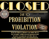 20s Murder Mystery Sign JPG ~ CLOSED Prohibition Violation ~ Speakeasy Party ~ Secret Message, Deliveries In Back, Password, Leave Weapon