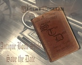 Custom SAVE THE DATE Antique Book Printable Card ~ Jpg Digital Download ~ Personalized Order ~ Goth Worn Velvet Book Cover Image Torn Pages