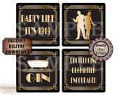 "COASTER DESIGNS Printable Sheets Craft Supply ~ Roaring 20s Art Deco Digital JPG File Set ~ 16 3.9X3.9"" Sq Images ~ Booze, Dancing, Flapper"