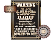 OPEN BAR Signs Printable ~ 1920s 5 File Wedding Party Poster ~ Roaring 20s Slang Zozzled Drunken Malarkey Documented ~ 5 Sizes on JPGs, PDFs