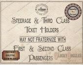 "Steamship ""Passenger Fraternize"" Printable Sign ~ Wedding, Murder Mystery, Escape Room Party Decoration JPG Oceanliner Cruise Ship Steerage"