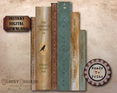 Poe Book Props Printable JPG PDF ~ Spooky Party Decoration ~ Goth Aged Stained Paper Book Covers Text Halloween Decor Junk Journal Clip Art
