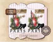 Parisian Pillow Box Printable Files ~ Victorian Paris Shoes Scrap Roses Shabby Pink Stripe Searsucker Boho Wedding Party Favor Packaging