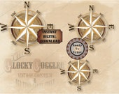 """Compass Rose Escape Room Murder Mystery Printable 3 Files ~ Around the World Explorer Party Weathered Gold Points Aged Wall Art 16"""", 12"""", 8"""""""
